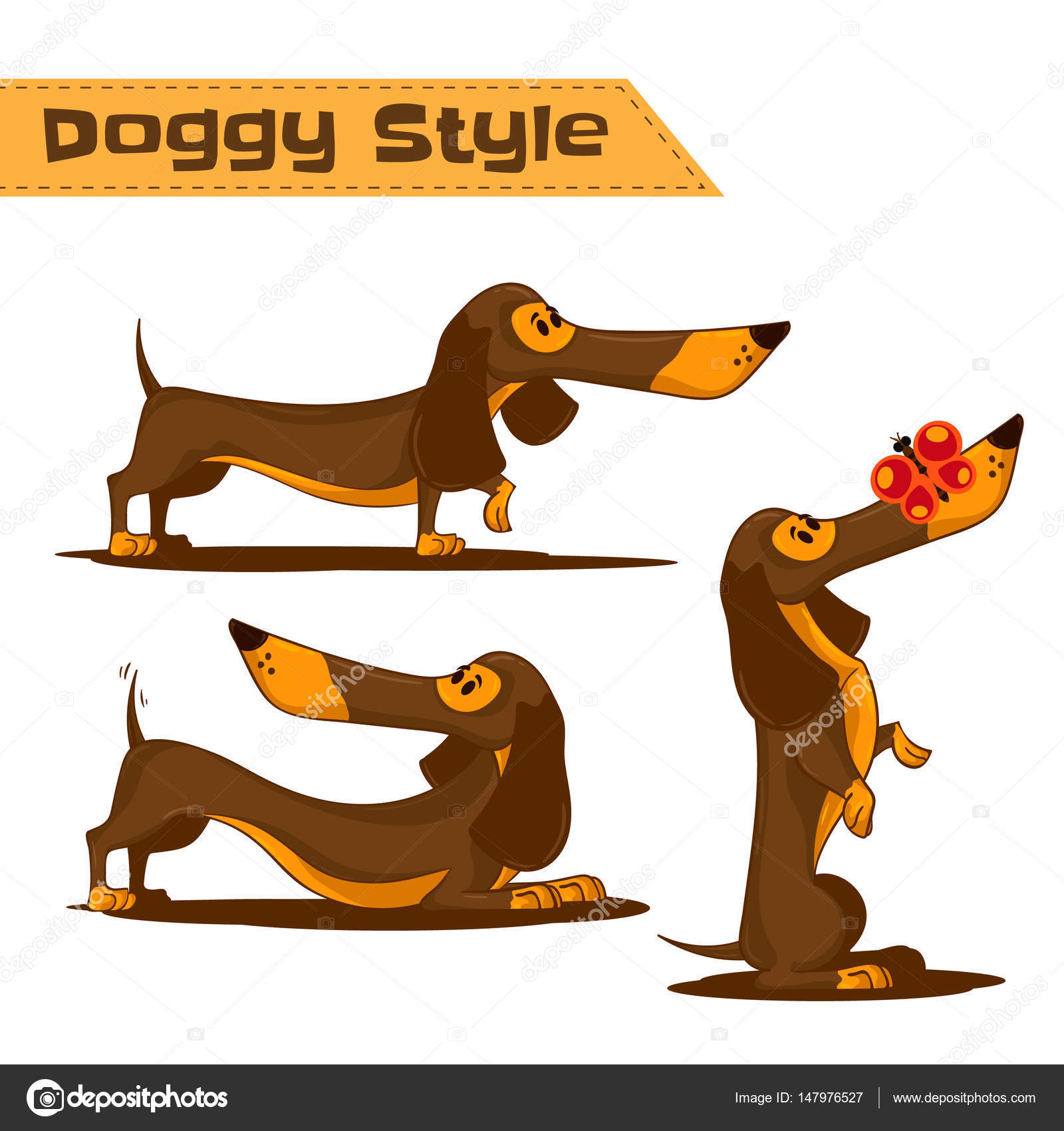Doggy Style Theme Set Of Cartoon Brown Dachshund In Different Poses Hand Drawn Vector Illustration Isolated On White Background