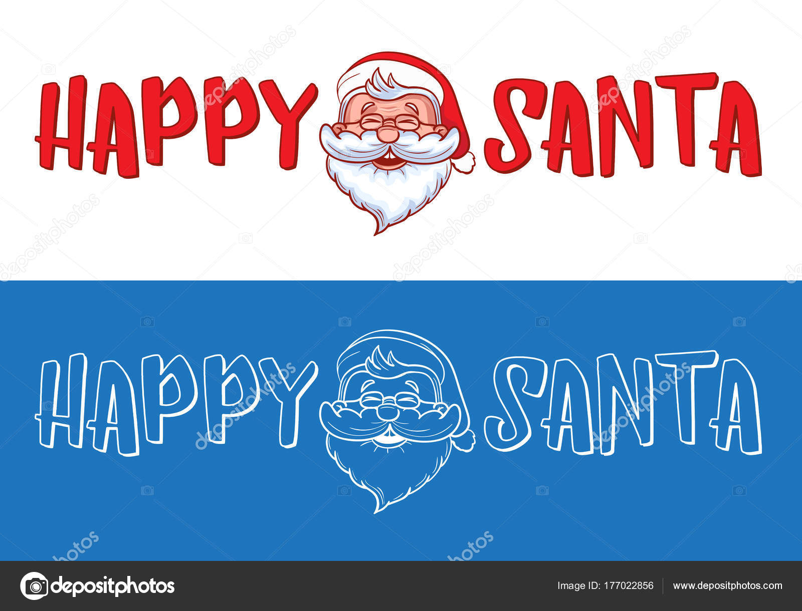 Happy Santa Logo Design For Christmas Greeting Cards Gifts Banners