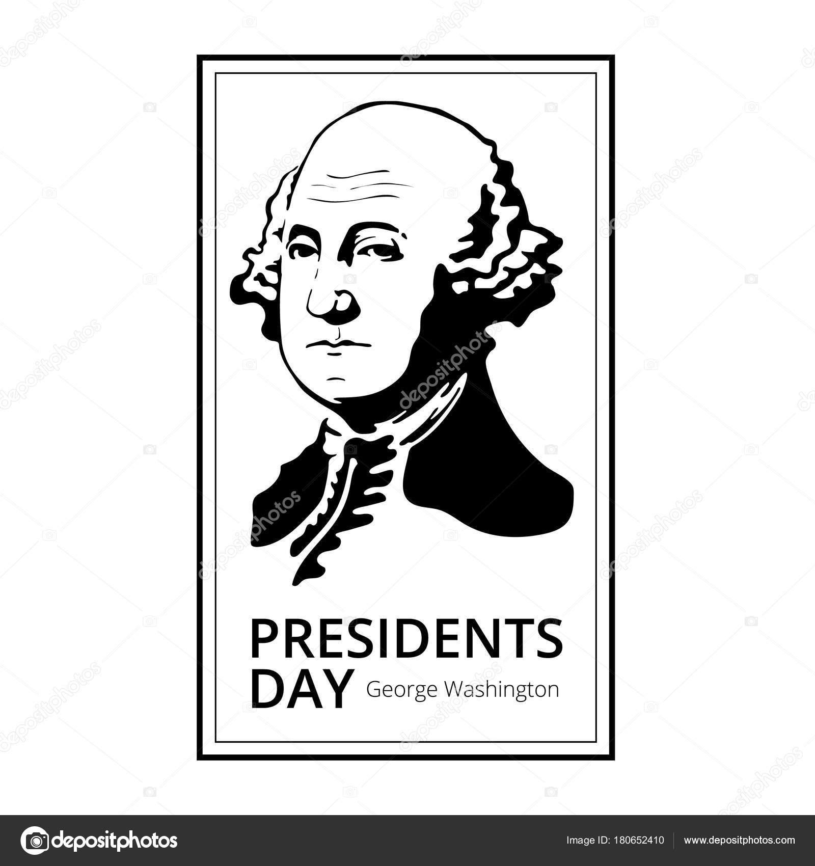 Silueta de George Washington a feliz Presidents Day - día de fiesta ...