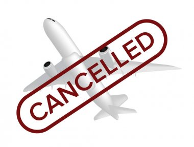 Cancelled flight vector illustration with missing airplane and red stamp on the front isolated on white background. Can be used in web design or advertising banner, poster, and other print layouts