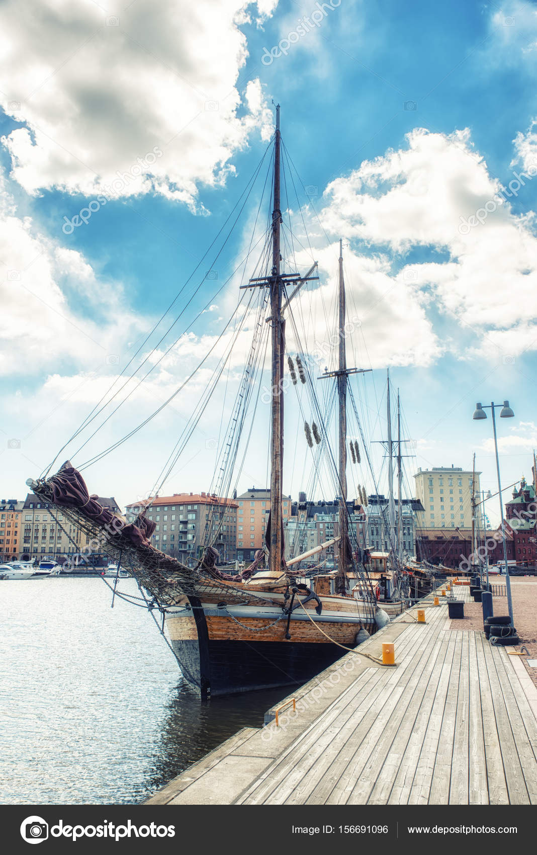 the old sailing ships in dock helsinki finland stock photo