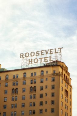 Los Angeles, CA, USA - February 02, 2018: The famous Roosevelt Hotel in the heart of Hollywood on the Walk of Fame and near the Grauman's Chinese Theater. The Roosevelt was opened in May of 1927 and said to be financed by several famous Hollywood Mov