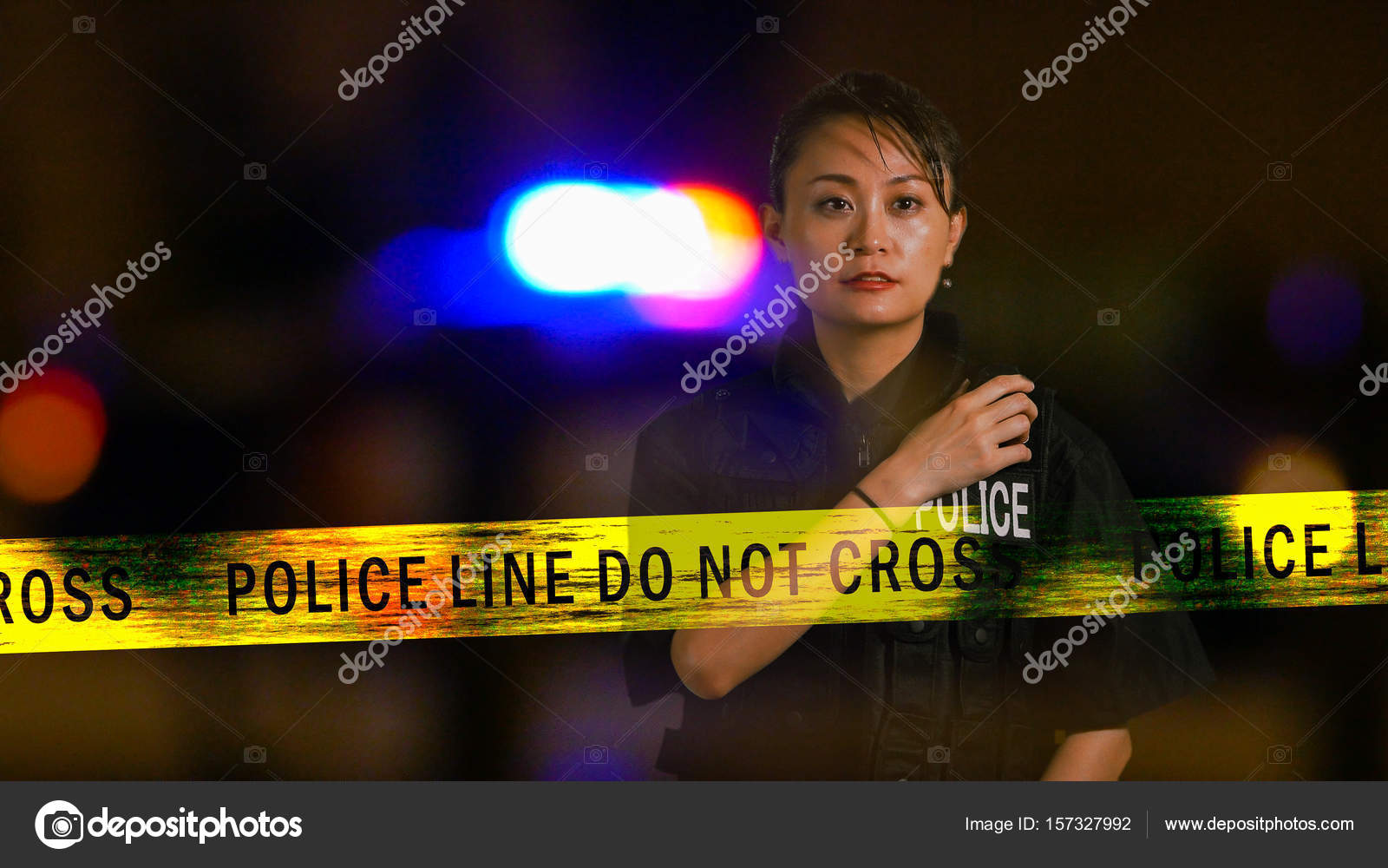 Asian American Policewoman using police radio with siren and boundary tape  in background, multiple exposure — Photo by ...