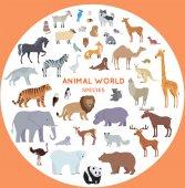 Fényképek Készlet-ból világ állat fajok vektor illusztráció.