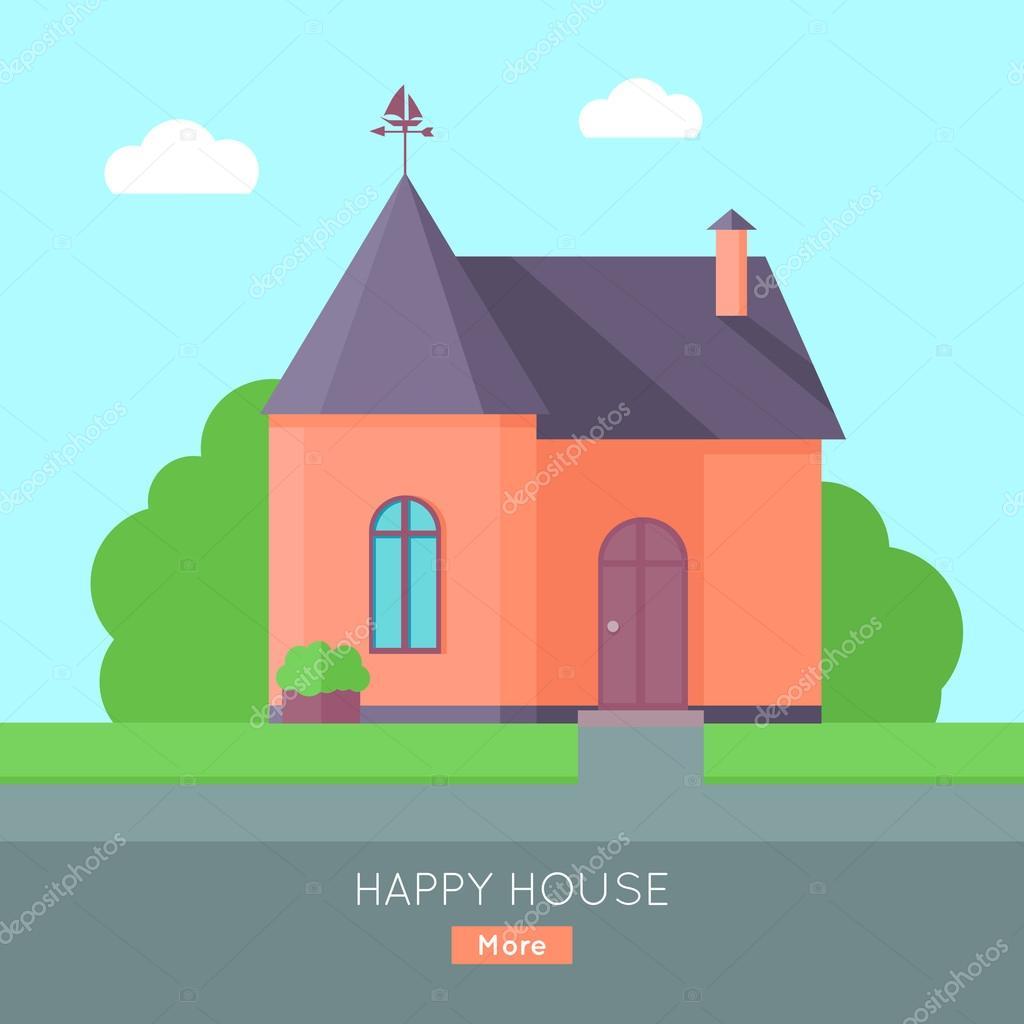 Happy House Konzept — Stockvektor © robuart #125523382