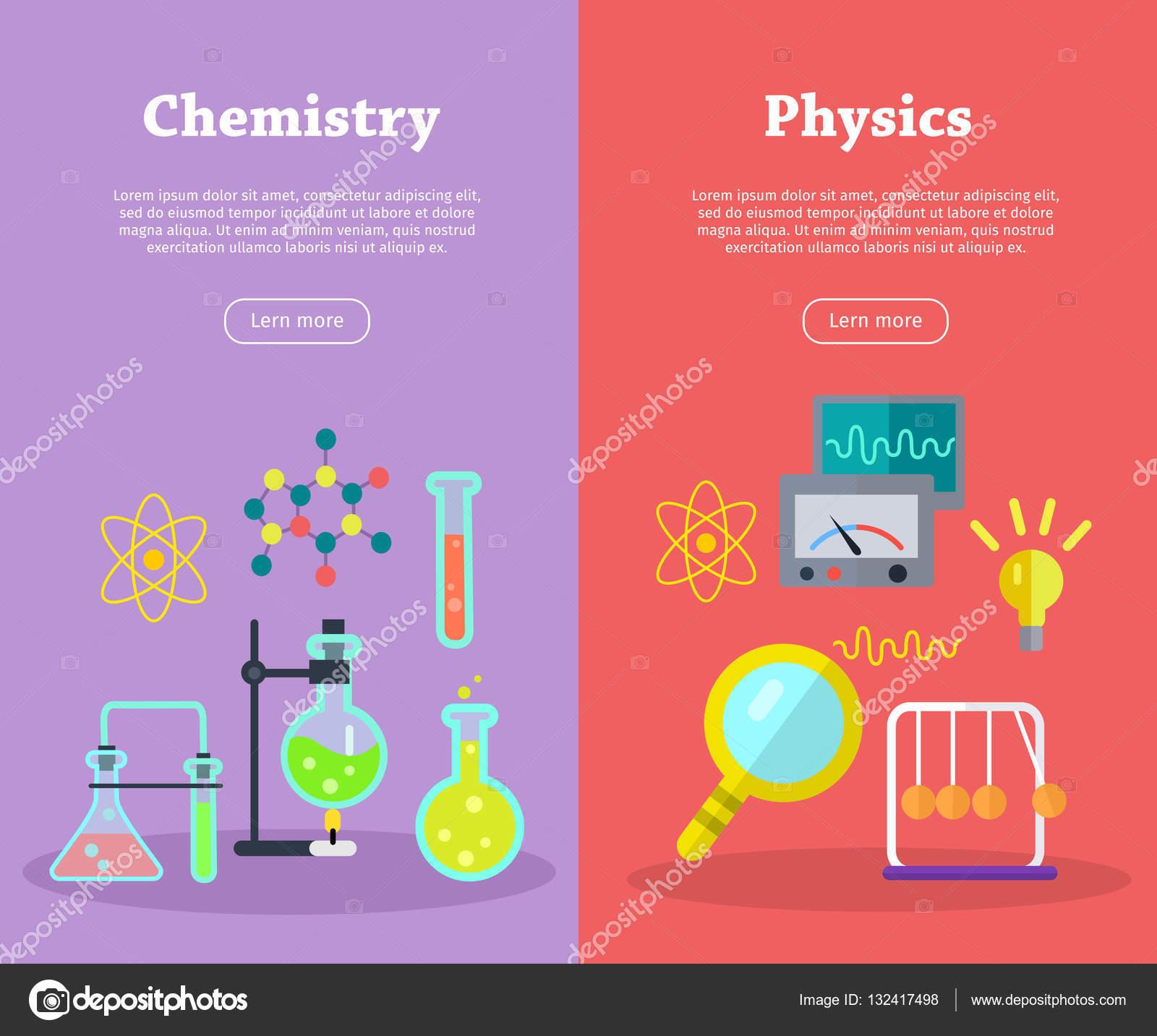Banners de cincia de fsica e qumica vector vetor de stock banners de cincia de fsica e qumica vector vetor de stock ccuart Gallery