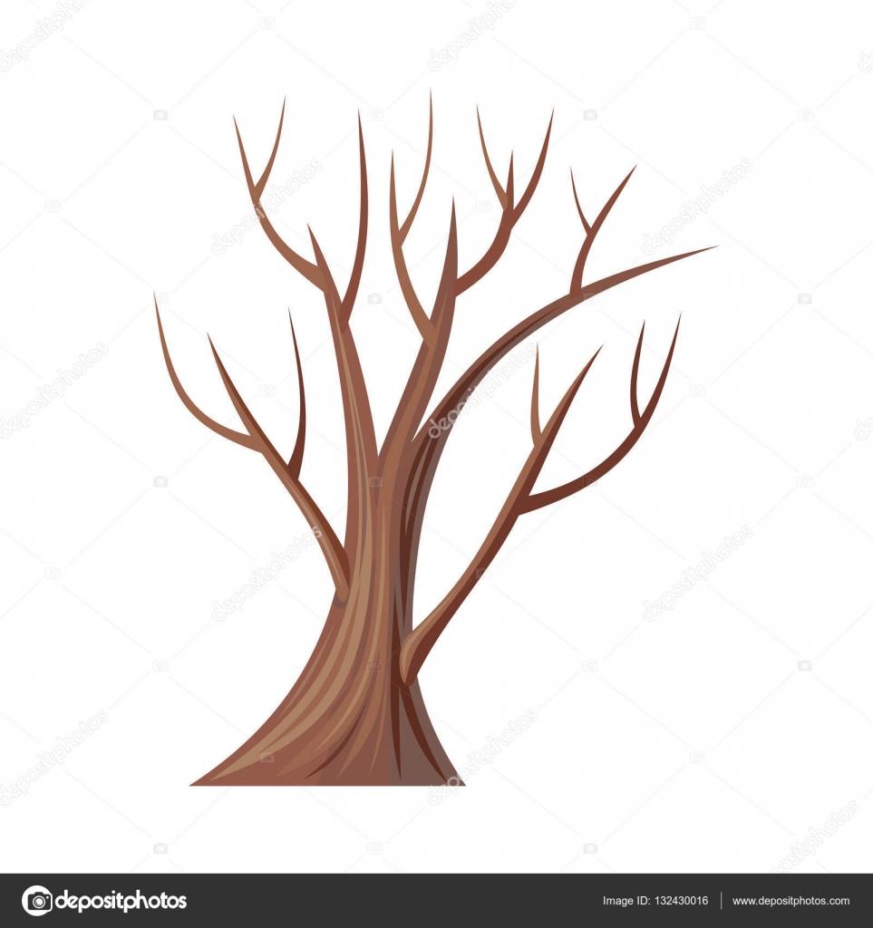 Голе дерево. Чуть-чуть дерево без листьев. Дуб. Вектор ...