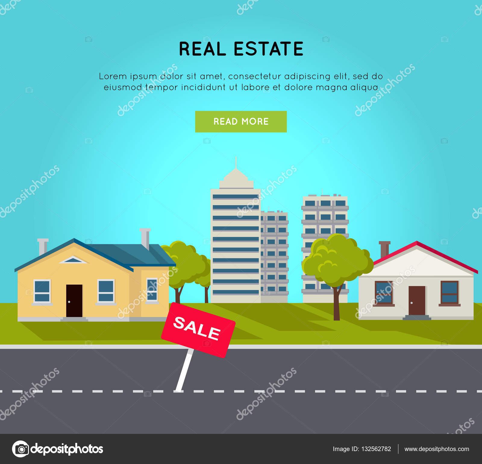 Real Estate: Real Estate Vector Web Banner In Flat Design.