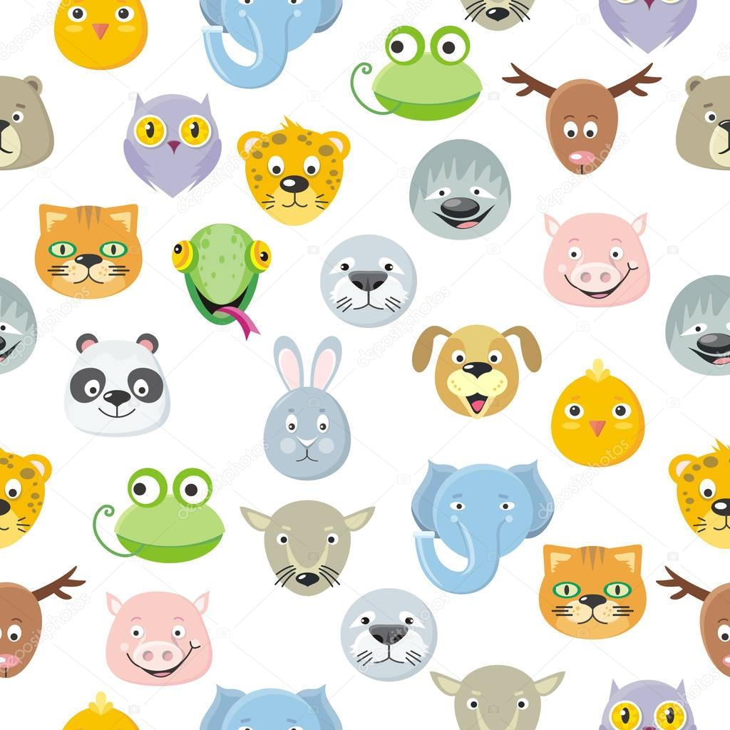 Seamless Pattern Animal Faces Set. Cartoon Masks