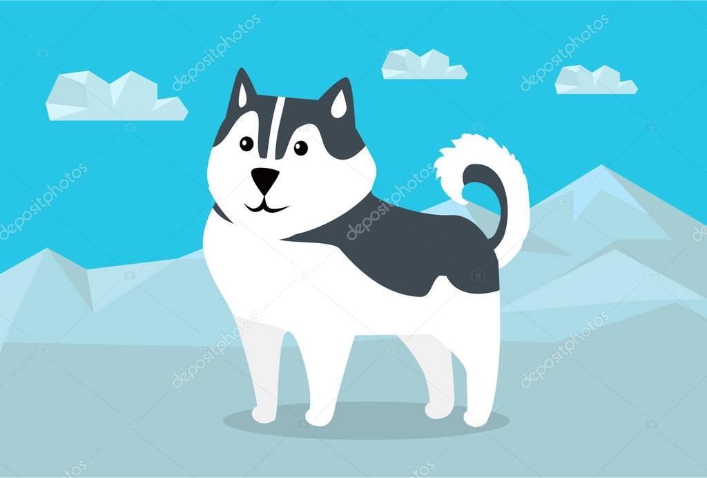 Siberian Husky Vector Illustration in Flat Design