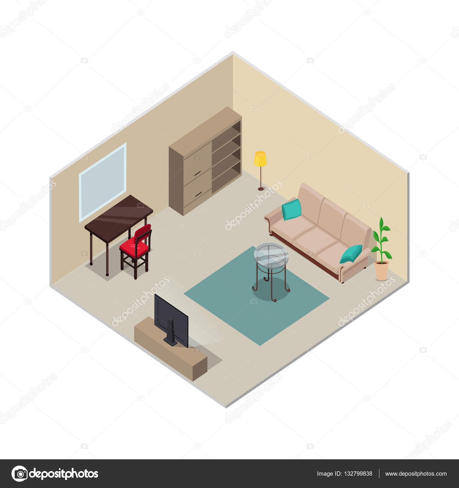 Isometrische Innenarchitektur. Wohnzimmer-Möbel — Stockvektor ...