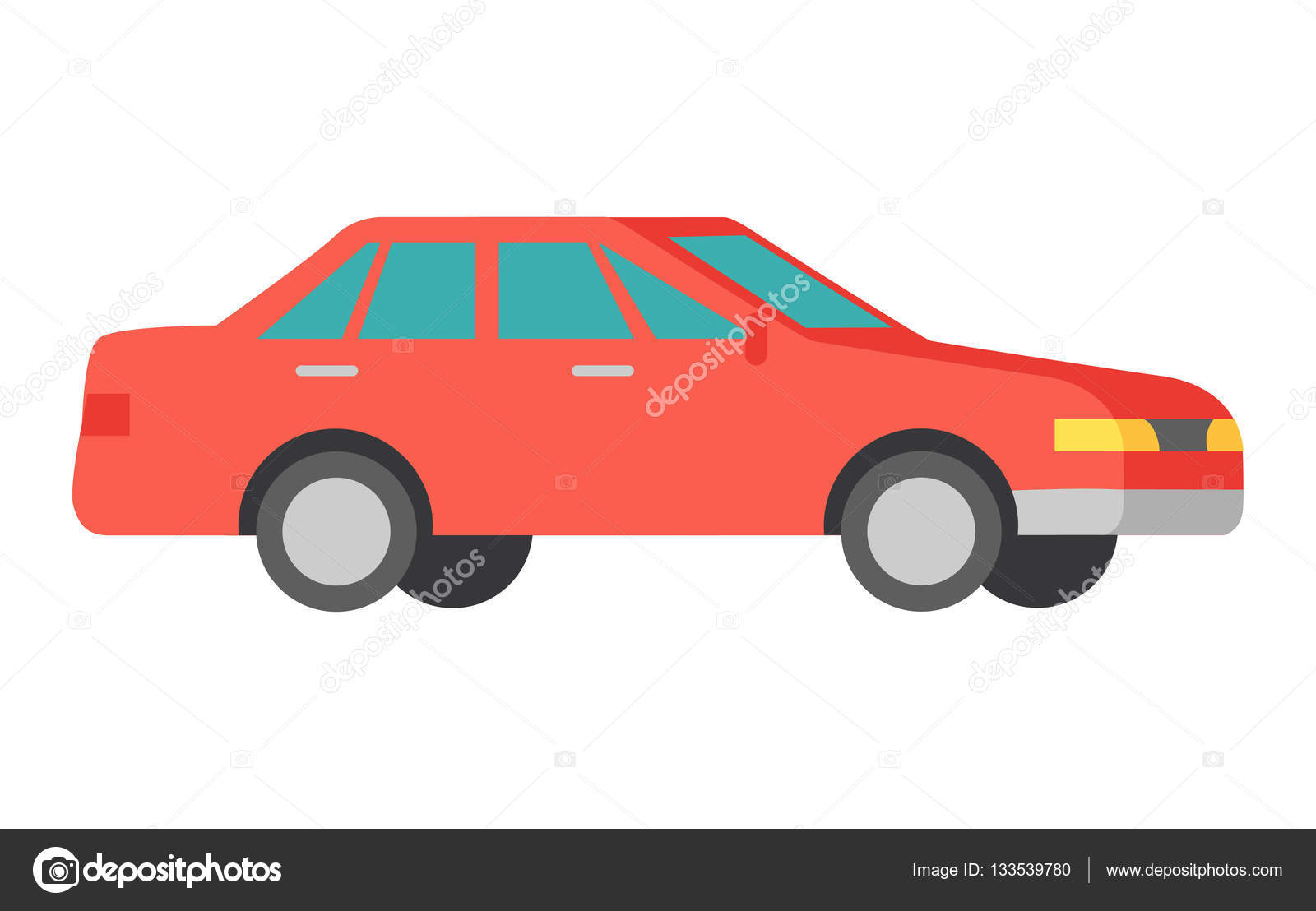 Vector Red Car Isolated On White Car Icon Symbol Stock Vector