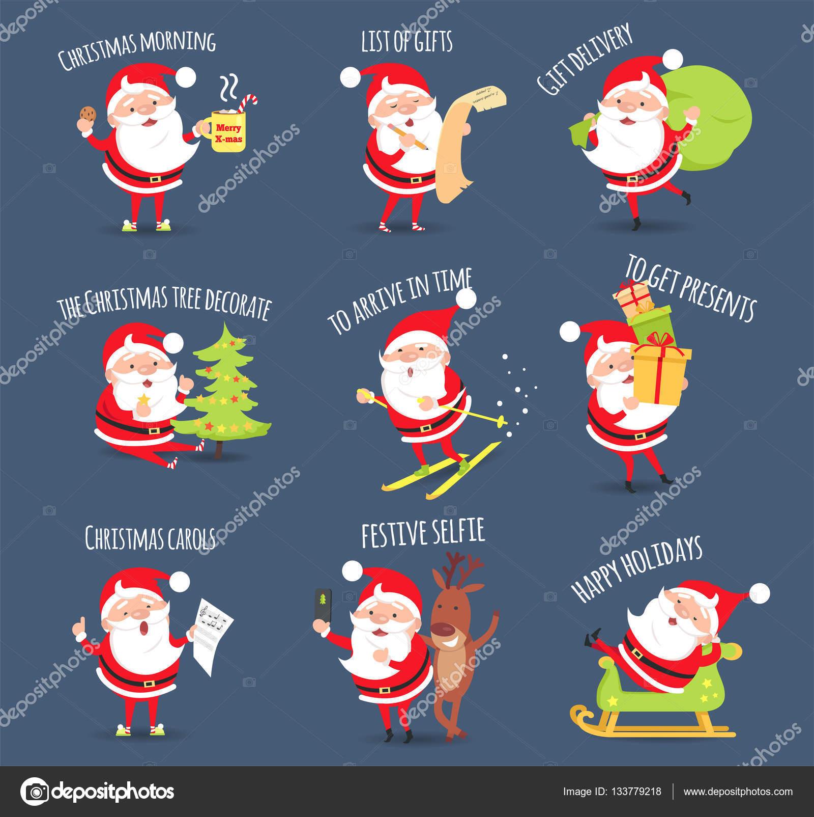 Santa-Aktivitäten. Weihnachten Frohe Festtage. Vektor — Stockvektor ...