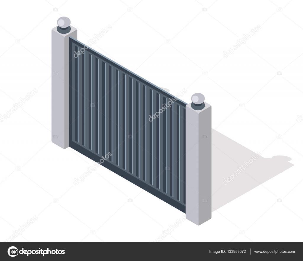 verja de hierro con columnas de ladrillo aislado en blanco puerta con el wicket en el diseo de estilo plano proyeccin isomtrica