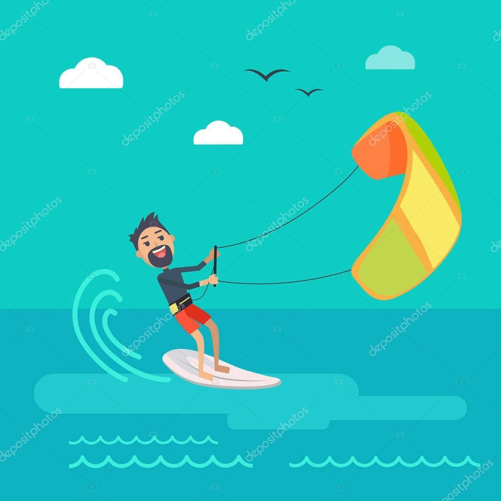 Kitesurfing Vector Concept in Flat Design