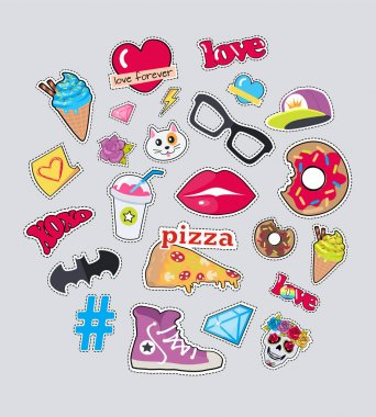 Collection of Things for Teens Vector Stickers Set