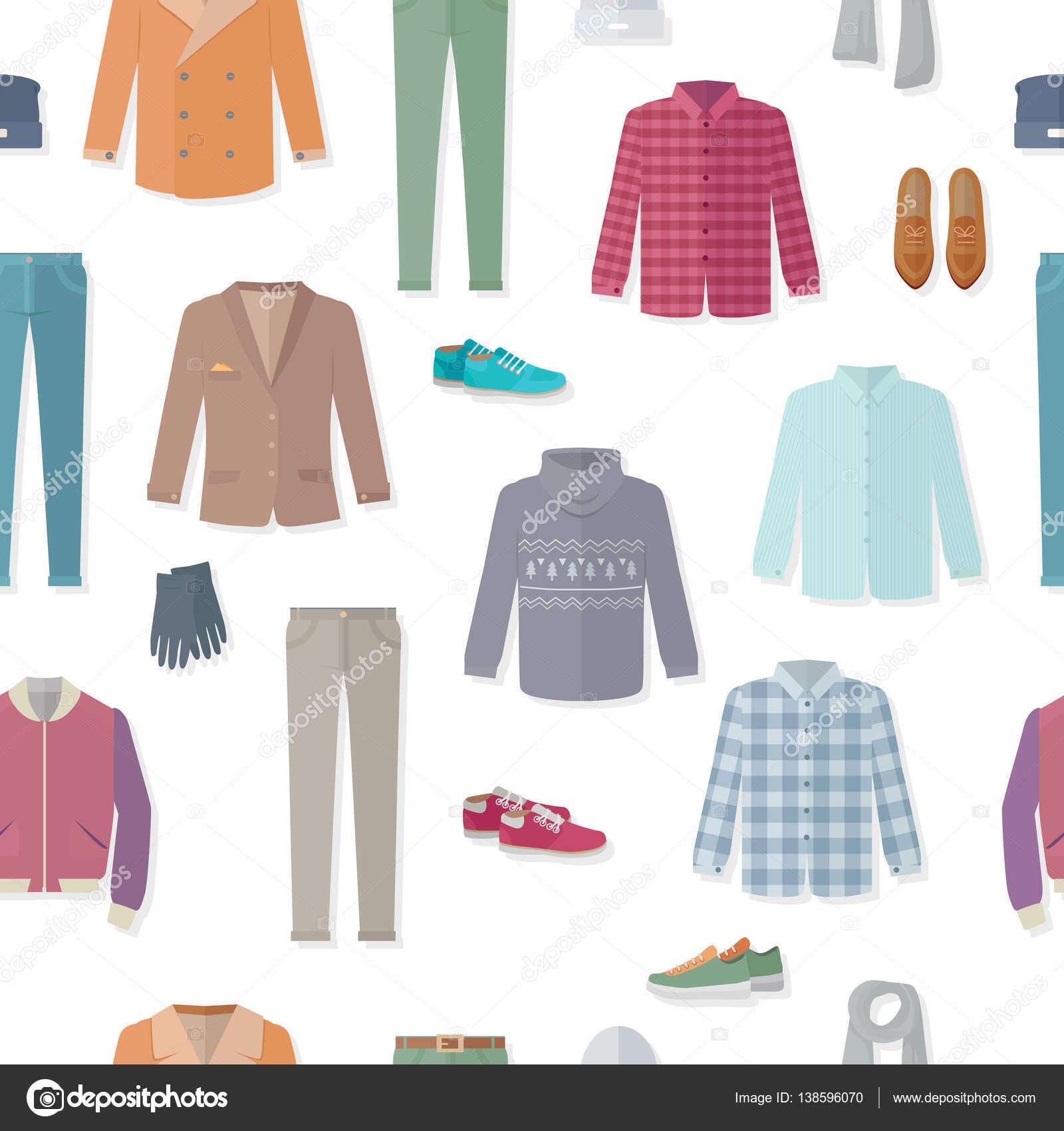 Ilustración de Vector de patrón sin costuras ropa — Vector de stock ...