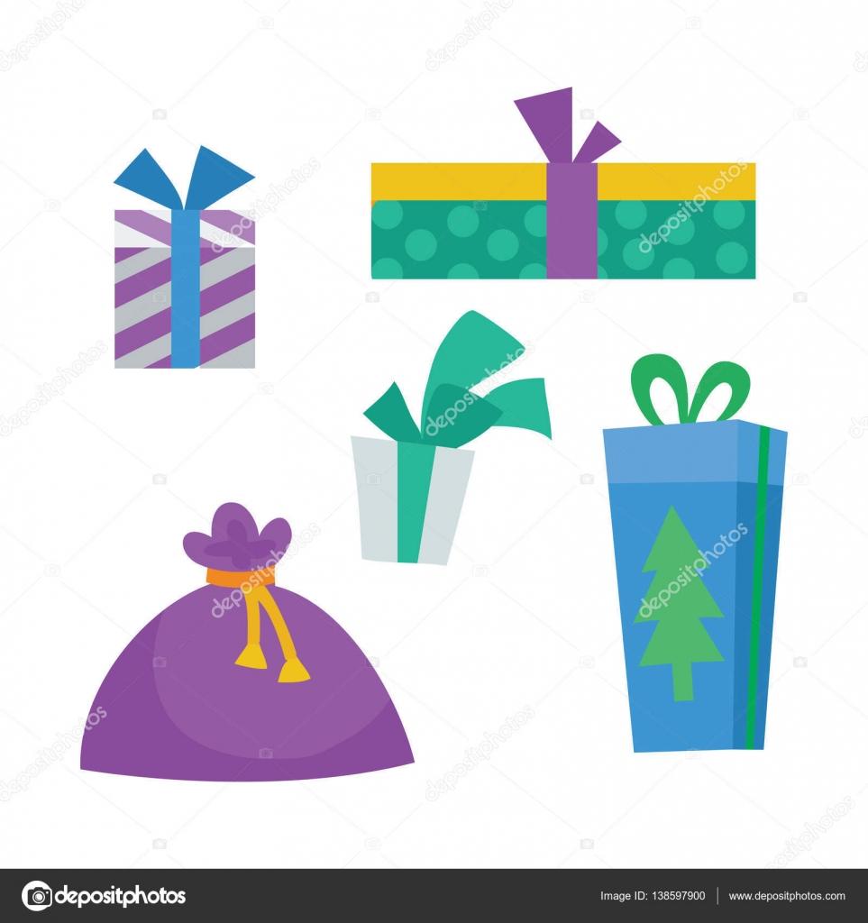 Bunte Geschenkboxen auf weiß. Weihnachtsgeschenke — Stockvektor ...