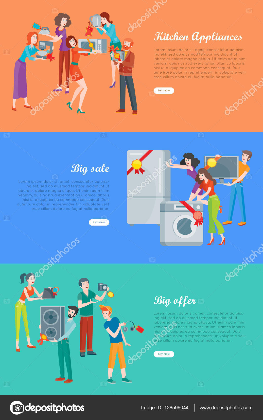 Sale in Electronics Store Vector Banners Set — Stock Vector ...