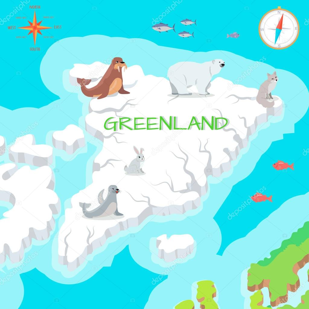 Greenland Mainland Cartoon Map with Fauna Species