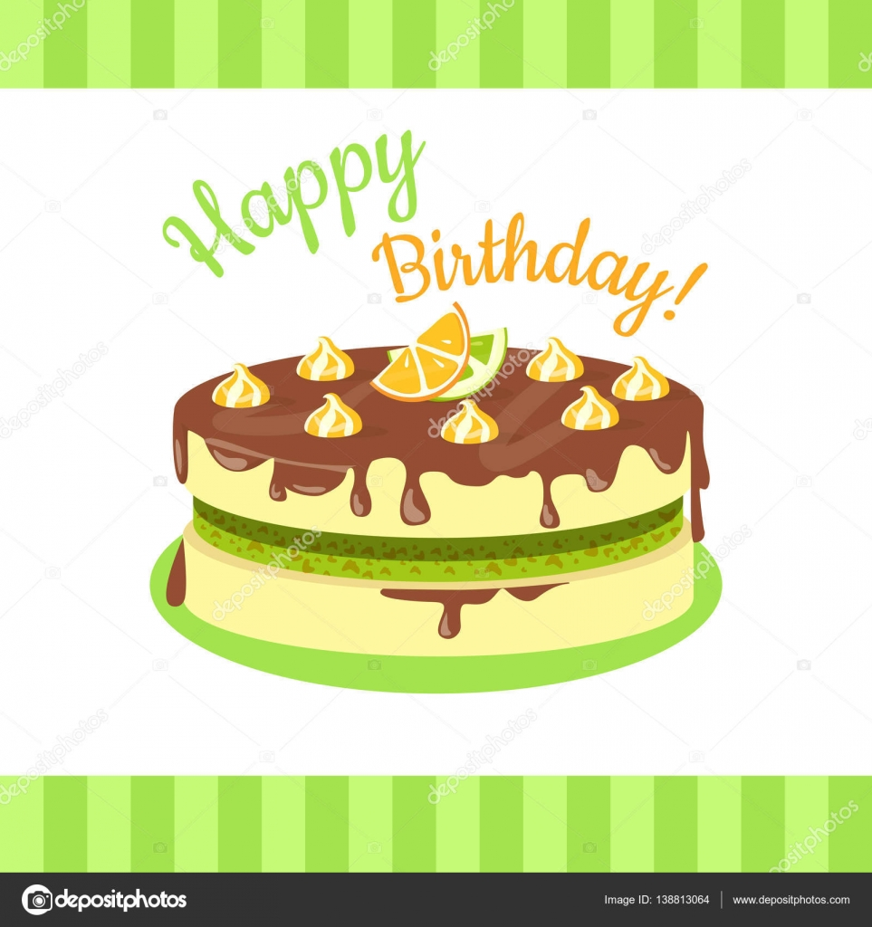 Happy Birthday Cake With Citrus Fruits Isolated Stock Vector
