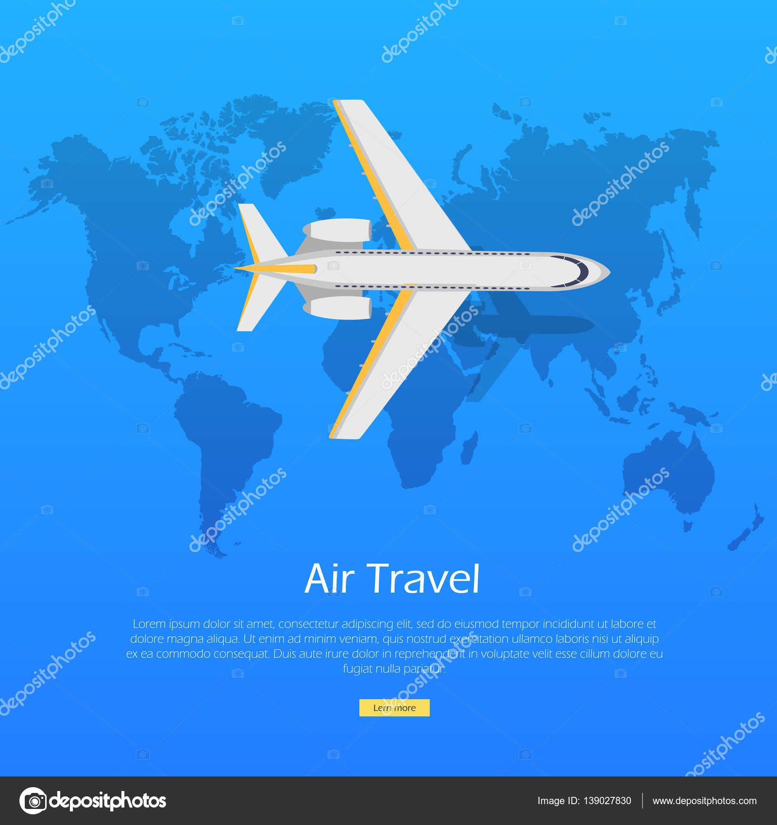 8a5019b750 Concepto de recorrido del aire. Plano en el banner de mundo mapa web.  Ilustración de vector de aviación del avión. Cartel informativo de Vector
