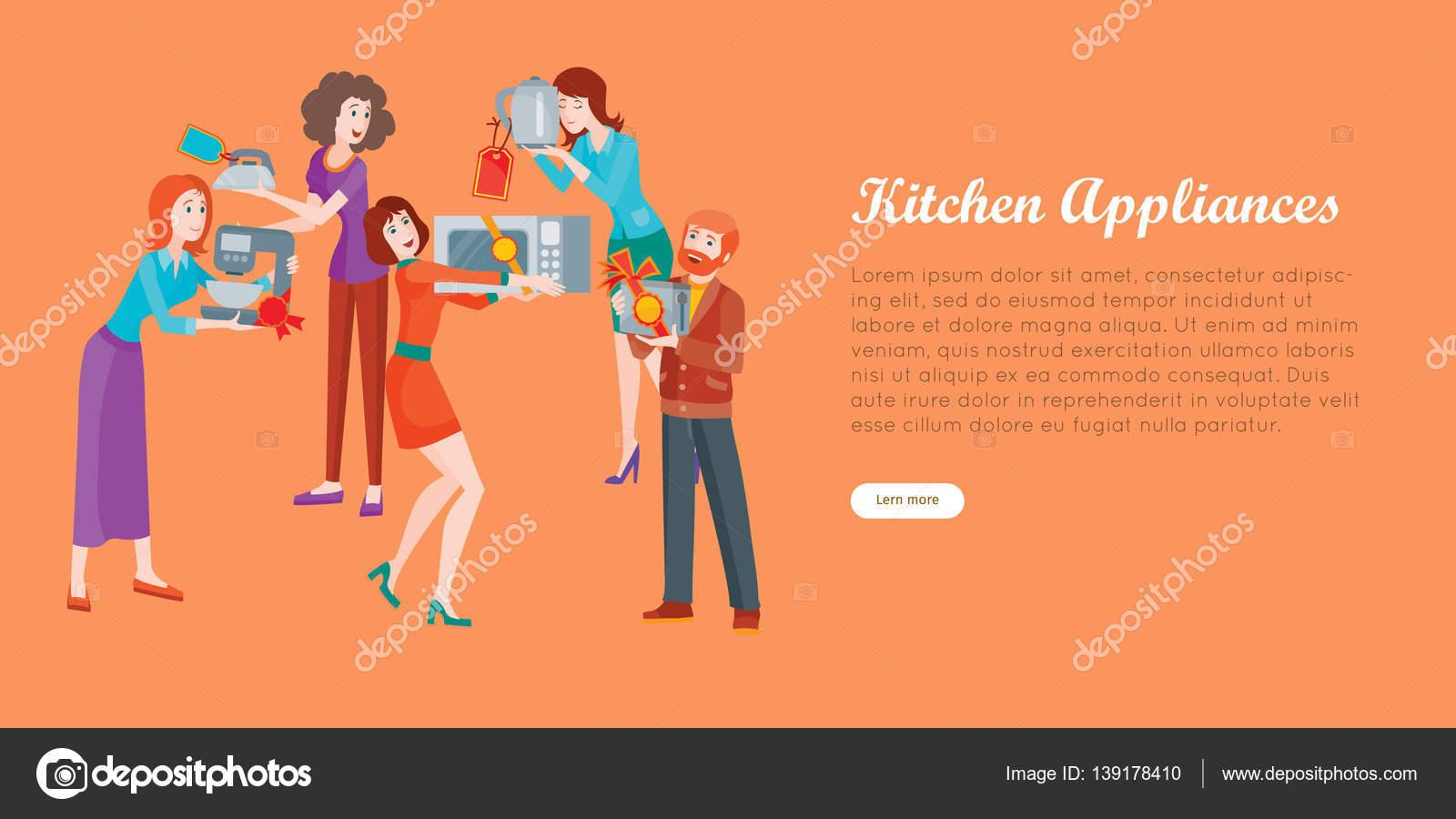 Küchengeräte. Gruppe von Personen auf Store-Verkauf — Stockvektor ...