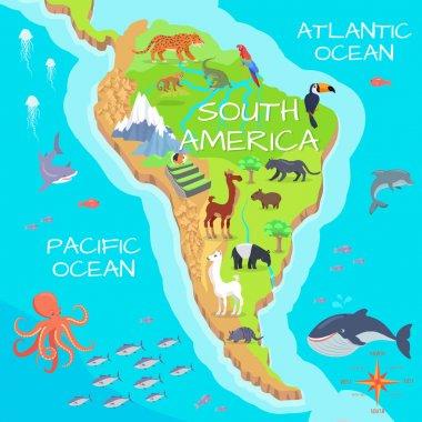 South America Mainland Cartoon Fauna Species