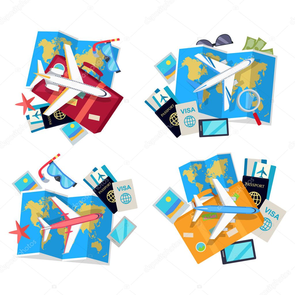 Collection of Four Travel Sets. Vector for Tourist