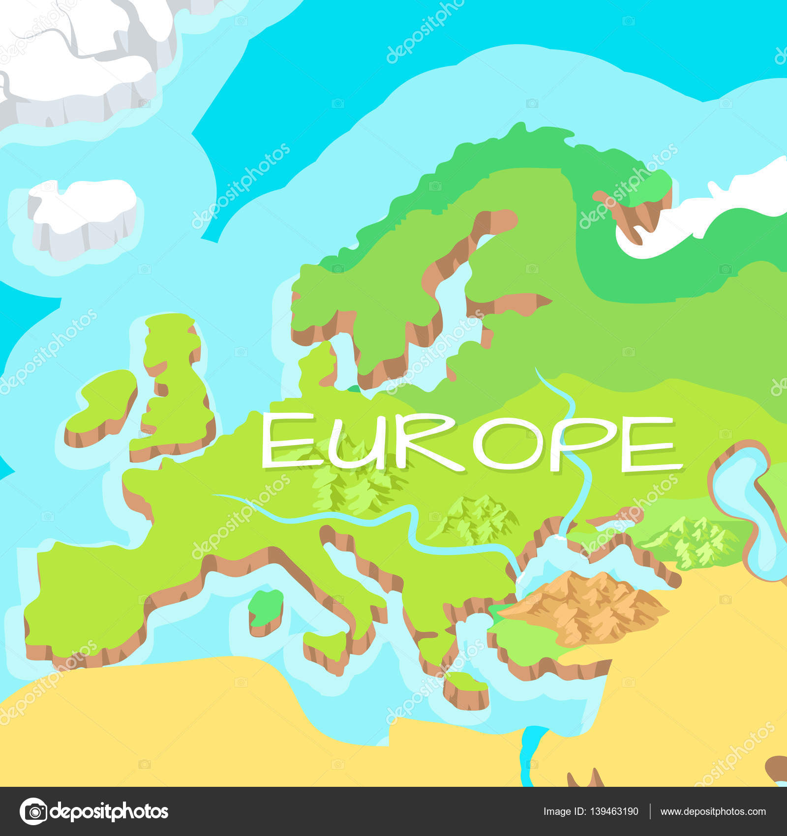 Mainland Europe Map.Europe Mainland Vector Cartoon Relief Map Stock Vector C Robuart