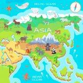 Fotografie Asia Mainland Cartoon Map with Fauna Species