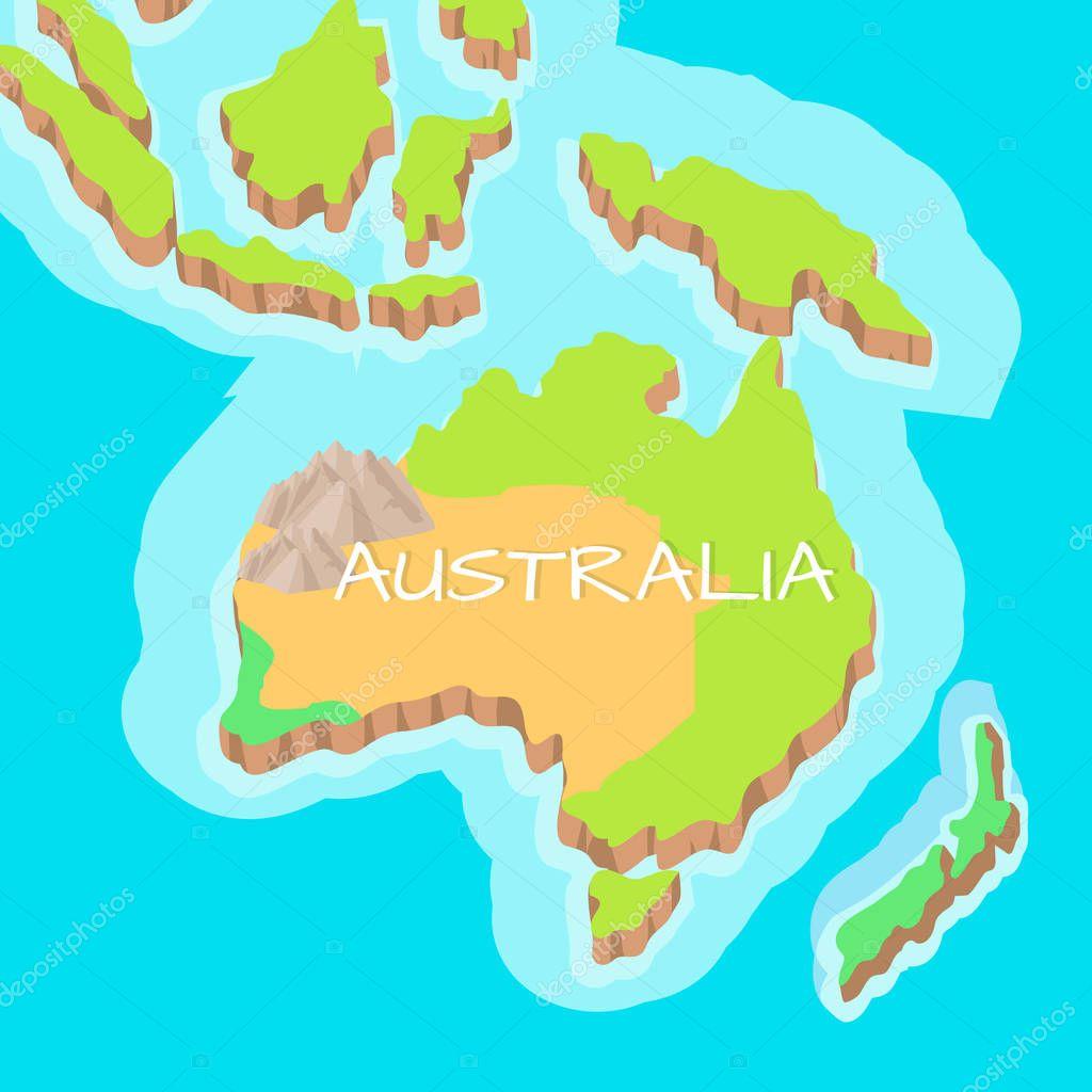 Australia Mainland Vector Cartoon Relief Map