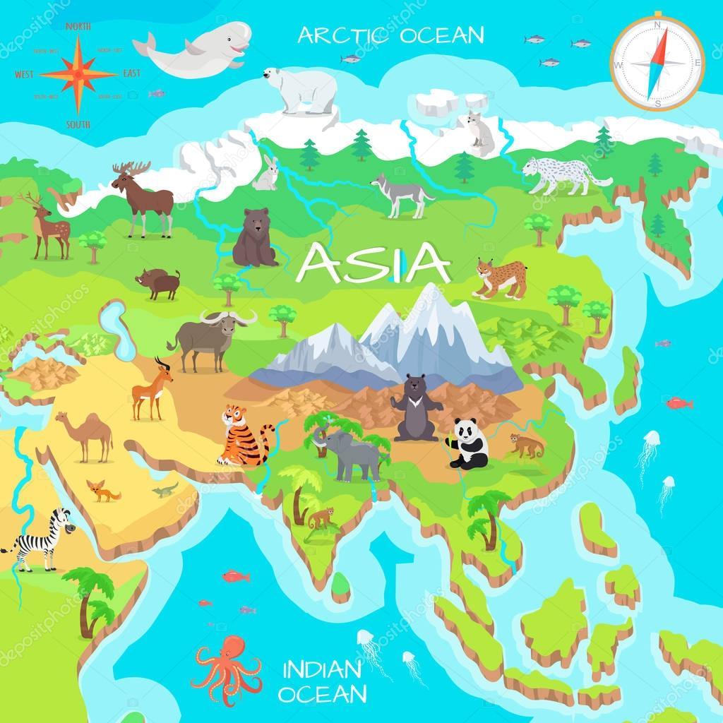 Asia Mainland Cartoon Map with Fauna Species