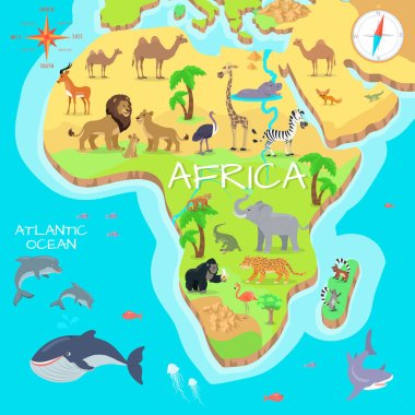 Africa Mainland Cartoon Map with Fauna Species