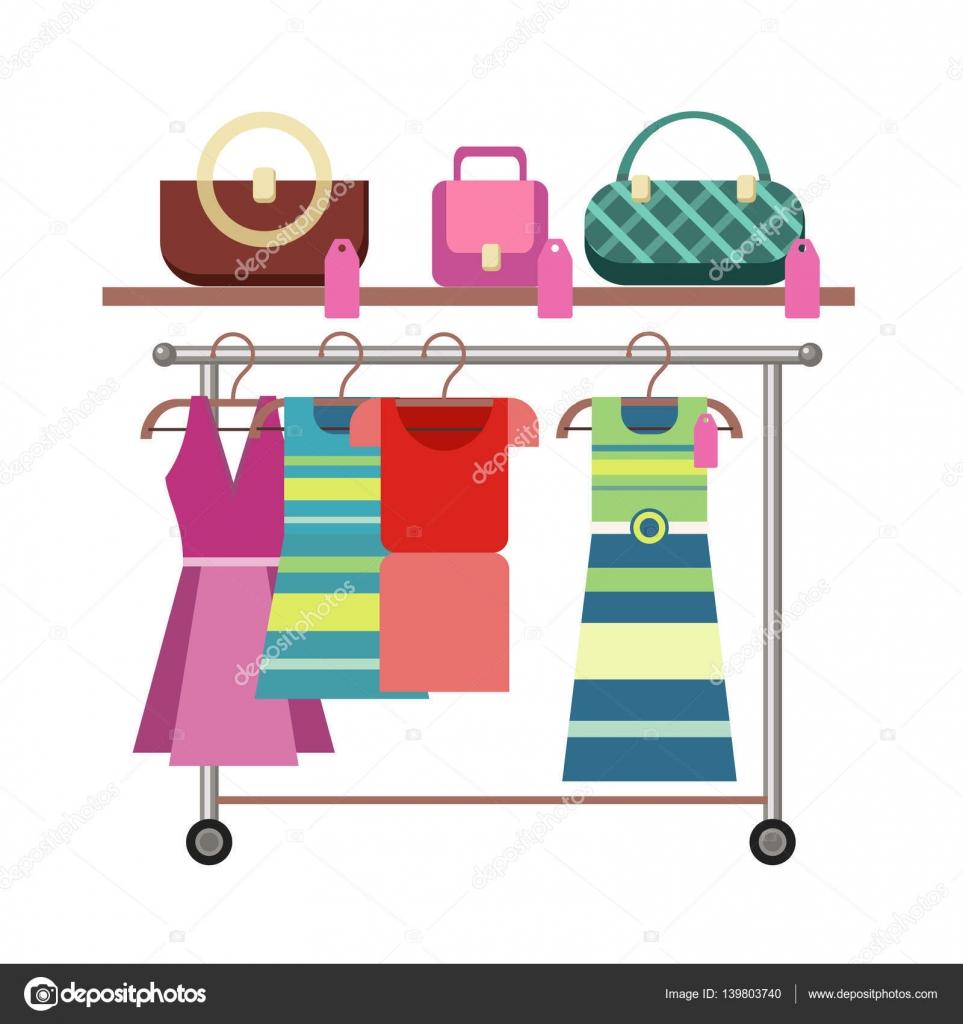 e553dea4b04c Κρεμάστρα και ράφι με γυναικεία ρούχα και αξεσουάρ. Εικονογράφηση κατάστημα  γυναικείας ένδυσης. Ανθρώπους που ψωνίζουν