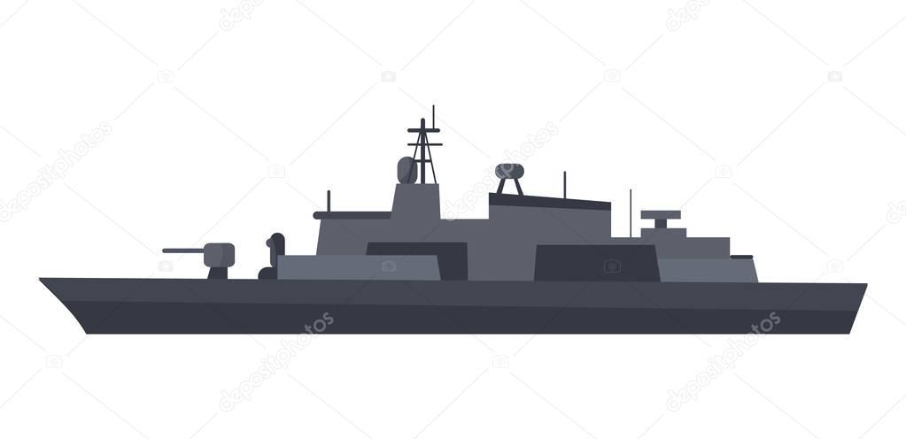 Coast Guard Cutter Flat Design Vector Illustration