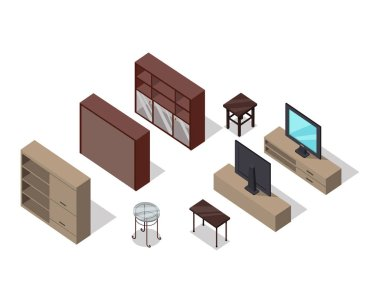 Set of Furniture Vectors in Isometric Projection