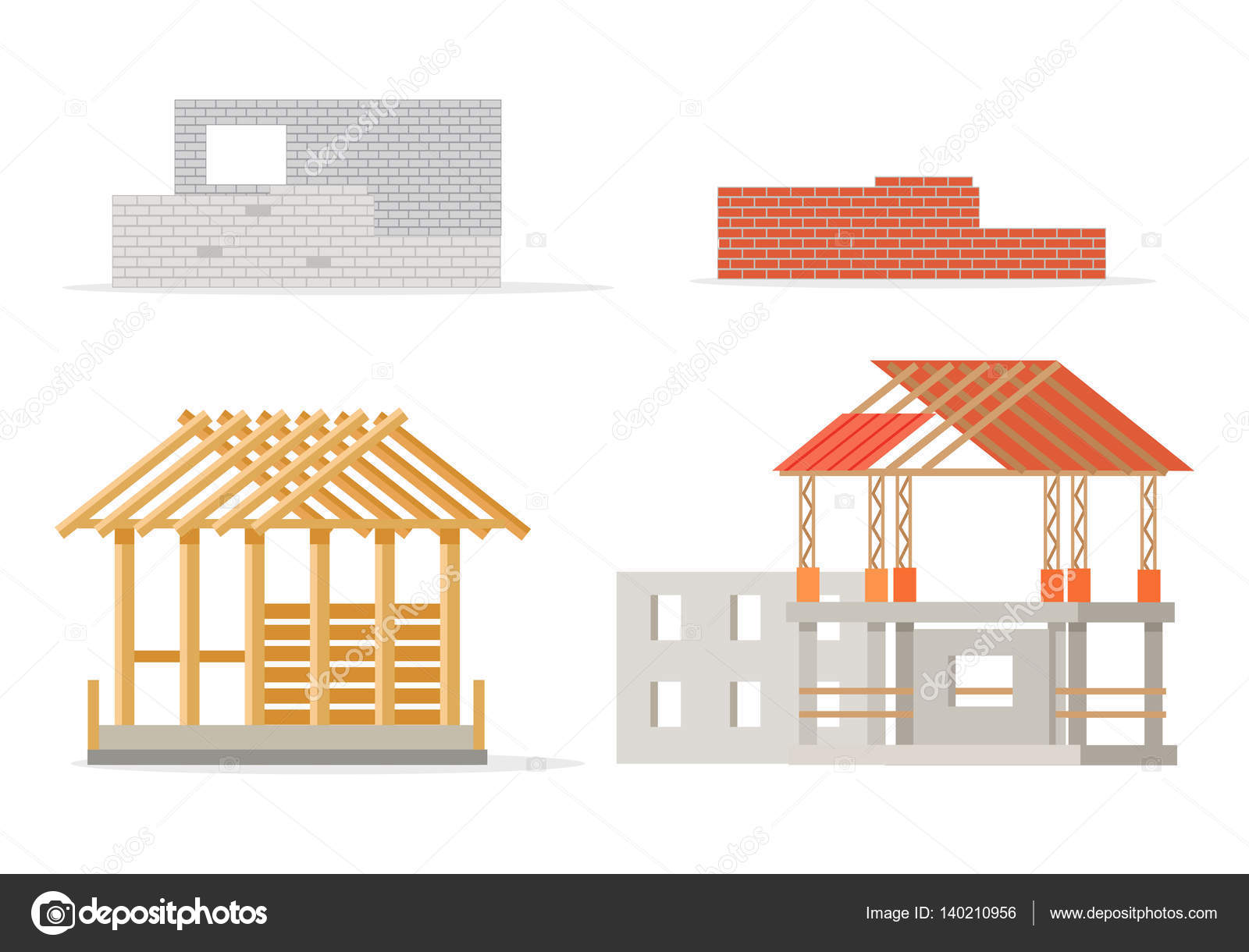 Industrial process of building new house stages stock for Process of building a new house