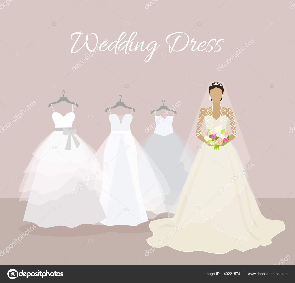 Modische Braut wählen Sie Hochzeit Kleid Banner — Stockvektor ...
