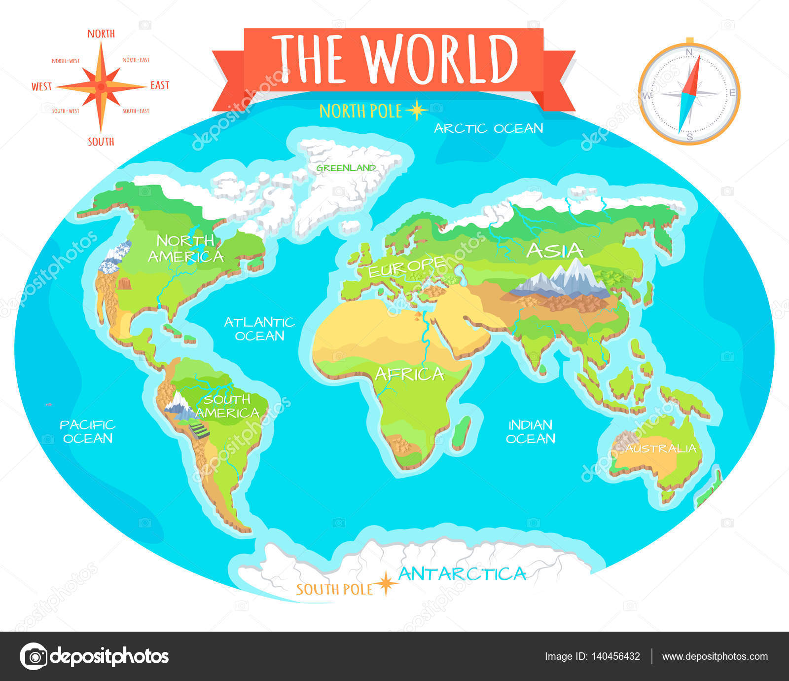 Continents, Oceans on Map of World. Our Planet. — Stock Vector ...