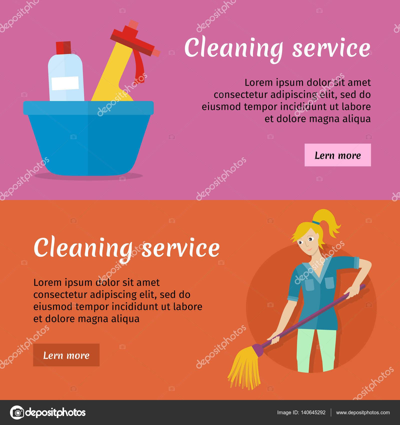 juego de limpieza tarjetas de anuncio de servicio cartel archivo