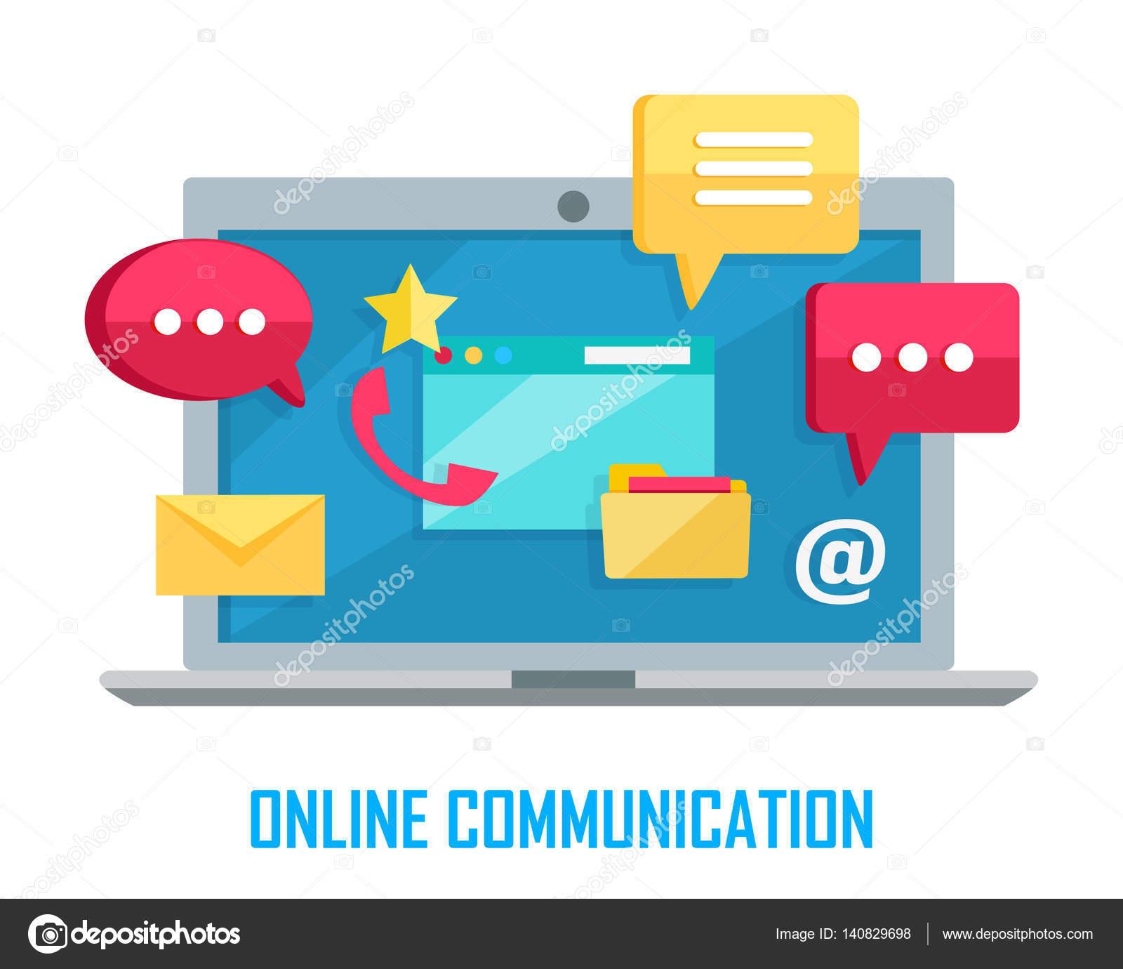 Ordinateur portable avec conversation par chat web signe isolé sur blanc.  Boîte de dialogue de l interface, parler bouton bulle application, message,  sms, ... 10cc4d781d9a