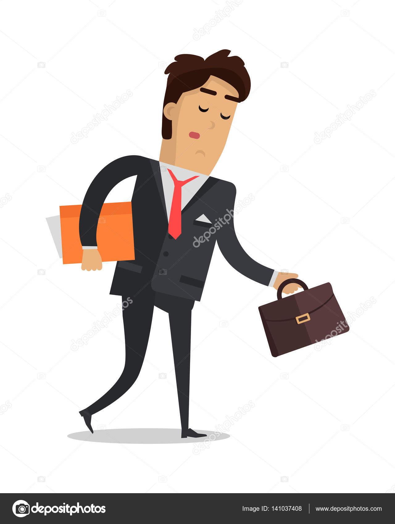 Müde Mann mit Buch und Koffer nach Hause isoliert — Stockvektor ...
