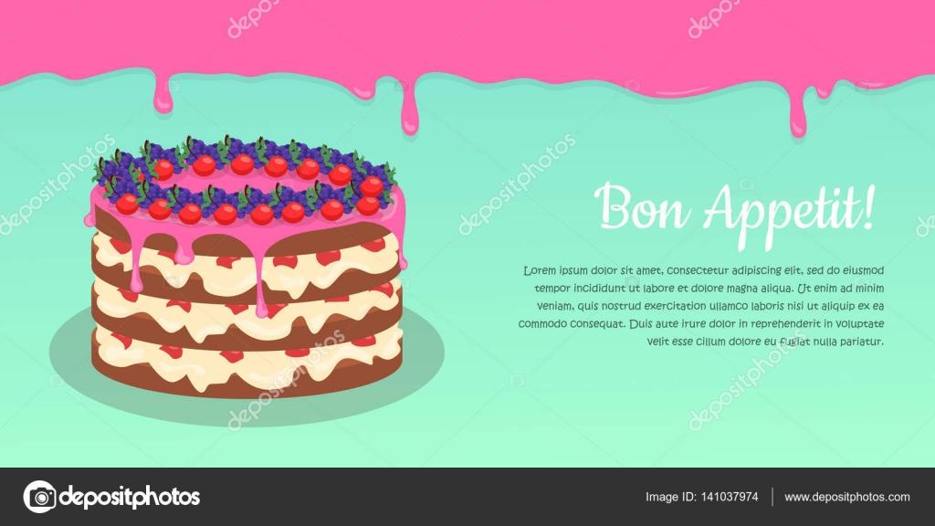 Bon Appetit Festive Cake Web Banner Chocolate Stock Vector
