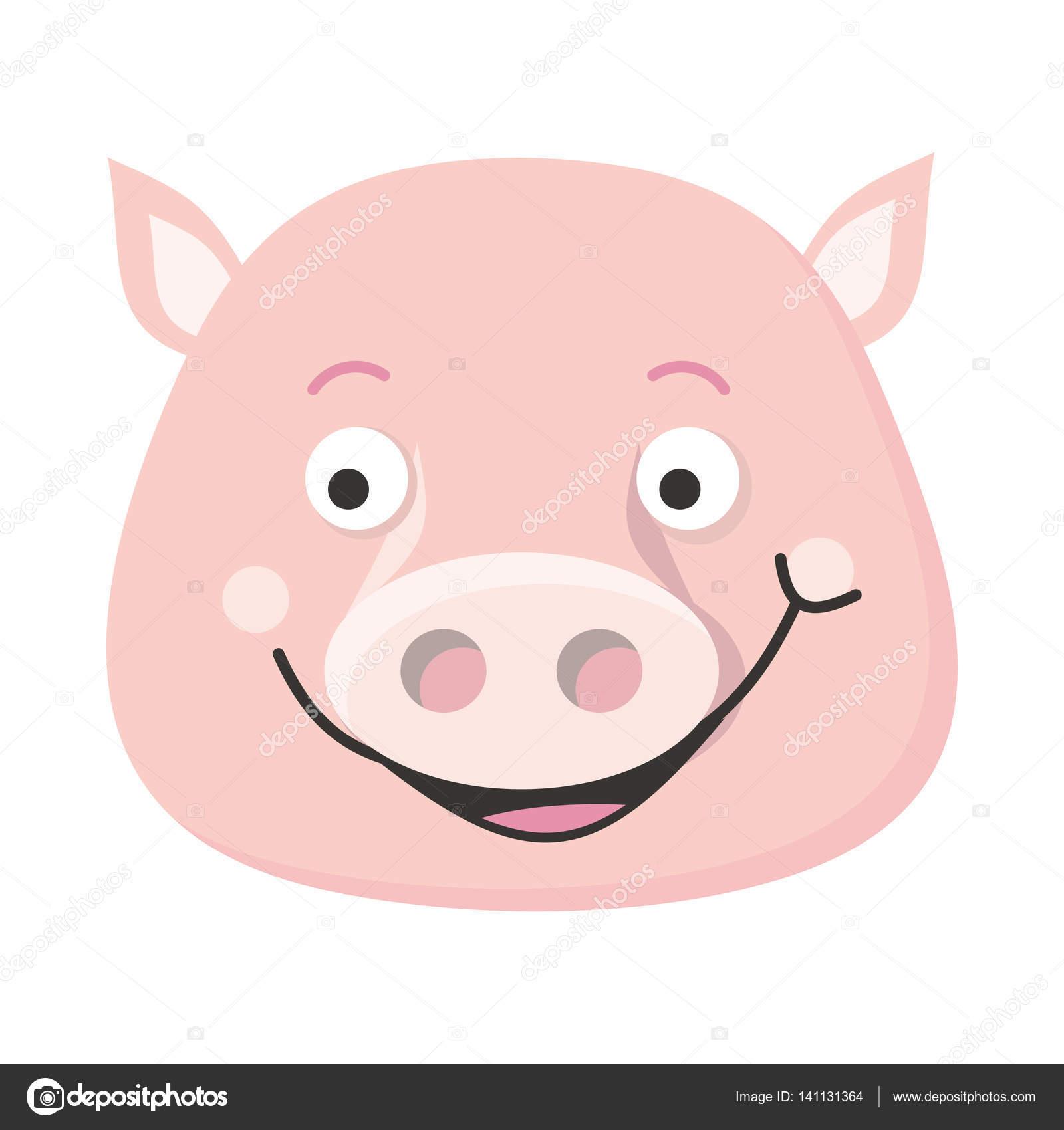 Ilustración de Vector de cara cerdo en diseño plano — Archivo ...