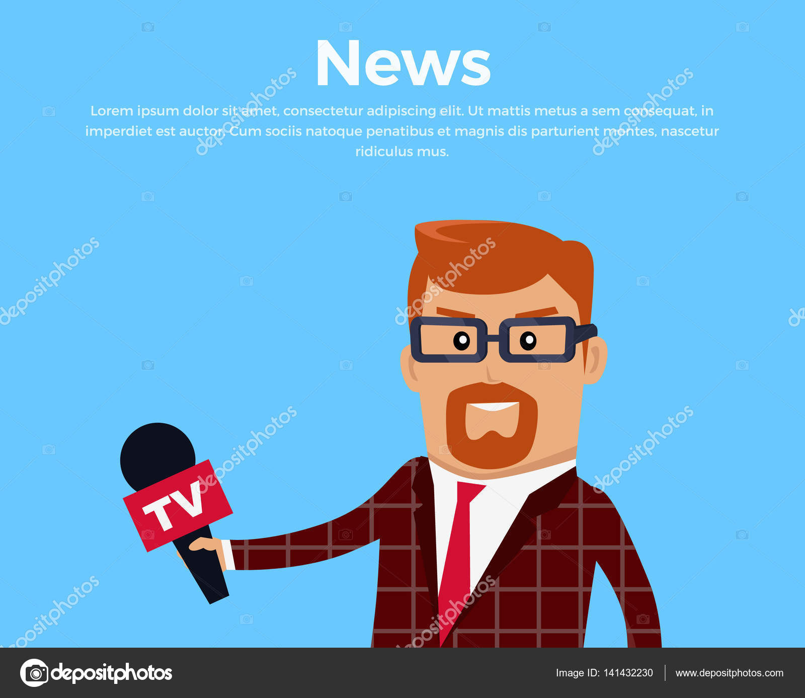 Breaking News Concept Banner Media Worker Character Vector Flat Design TV Journalist Reporter Illustration Live Man In Brown Checkered Suite With