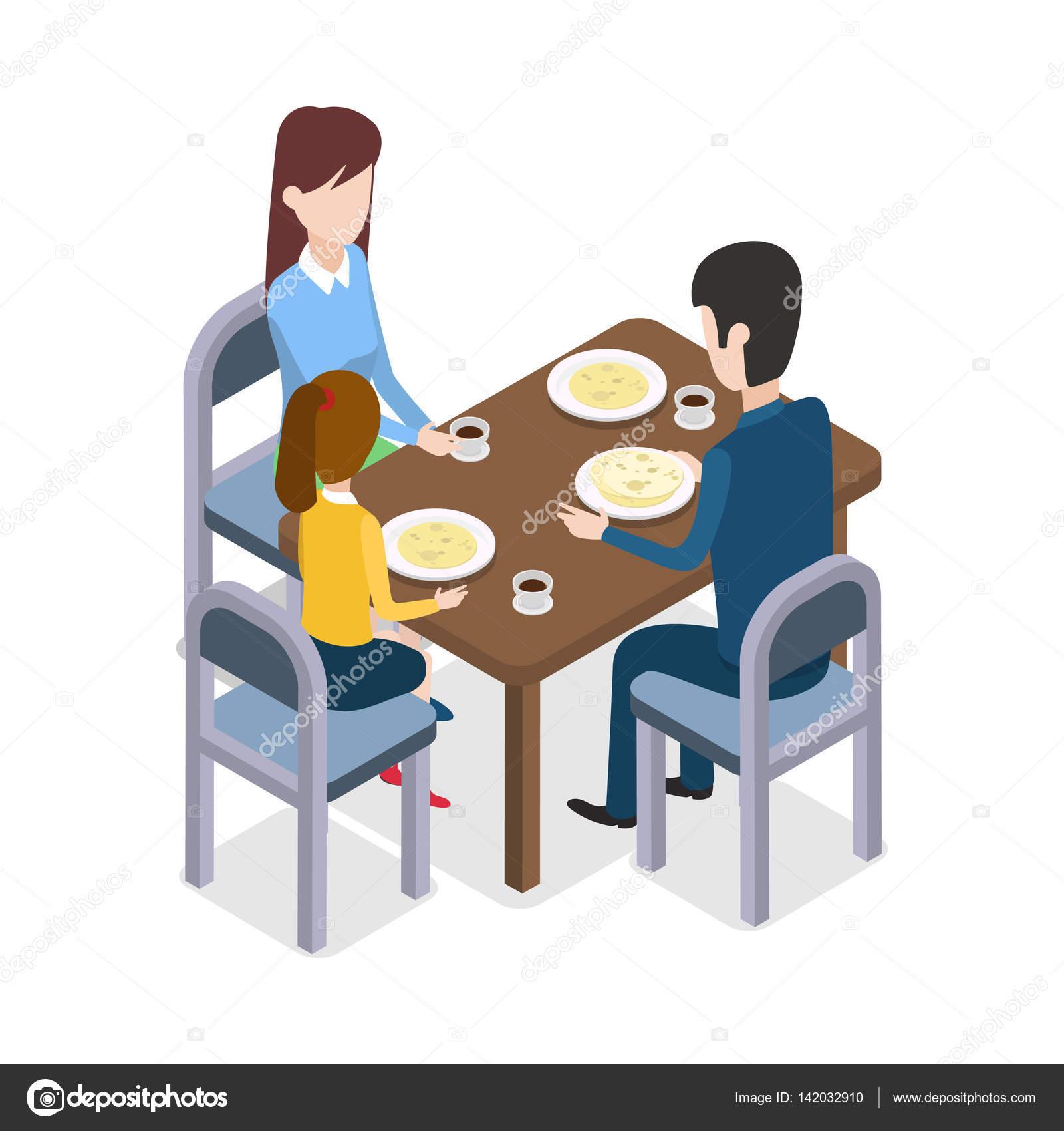 En el restaurante familia sentado en la mesa de comedor - El comedor de familia ...