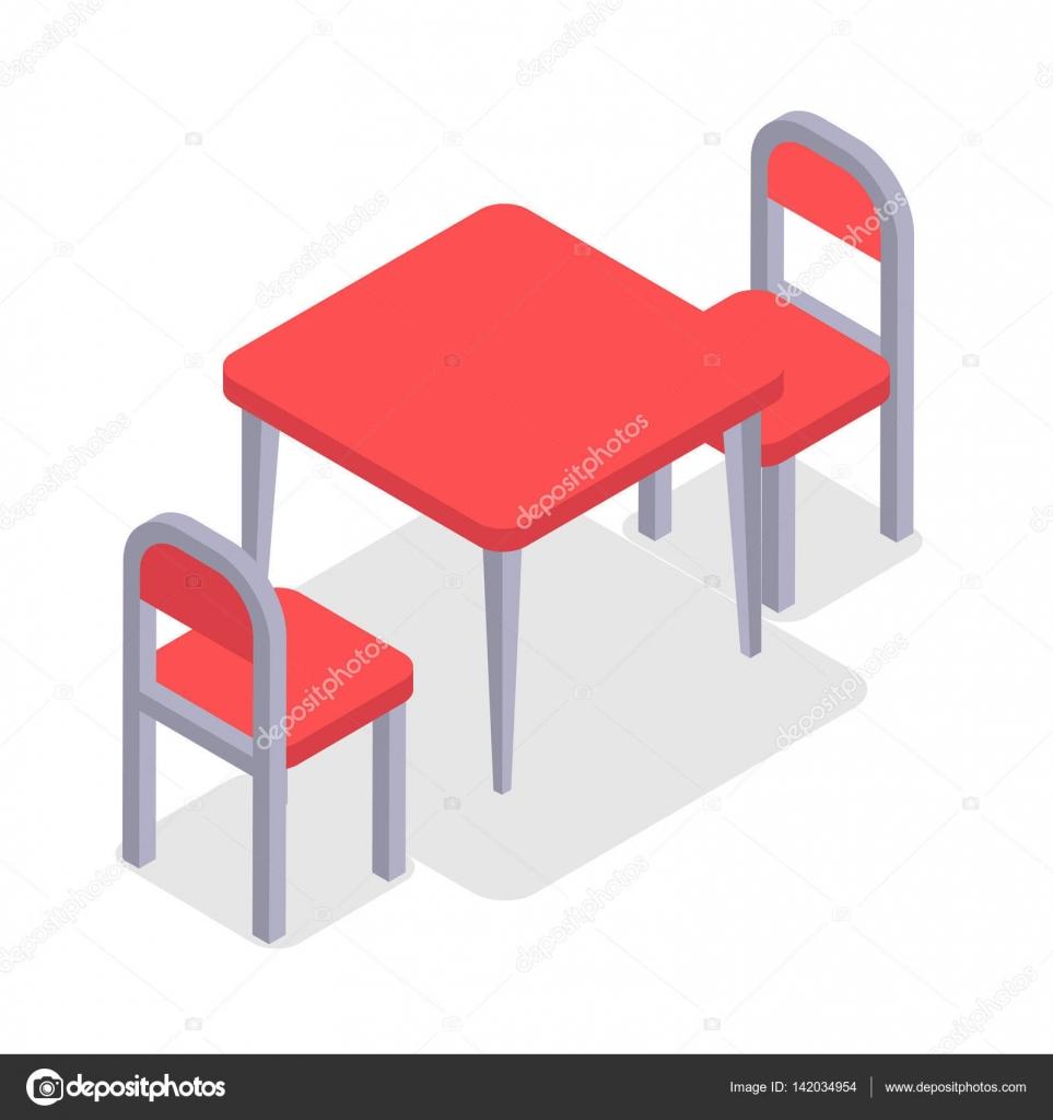 Stuhl und Tisch isometrische Design. Cafe Möbel — Stockvektor ...