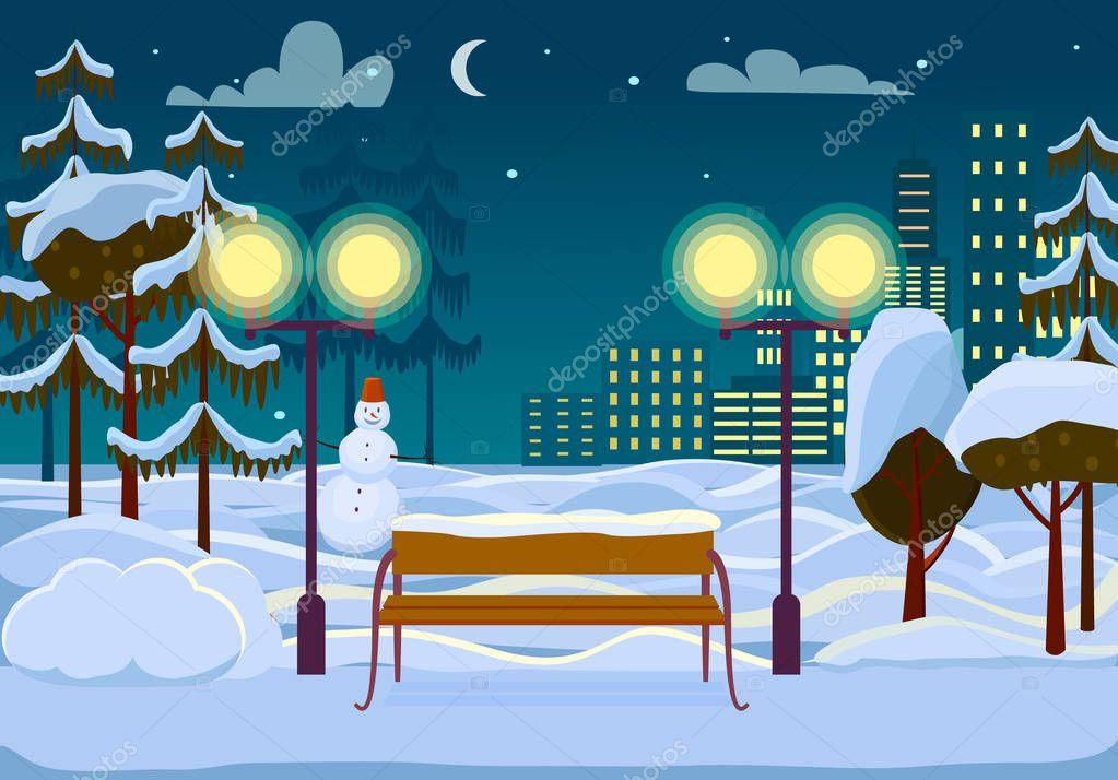 Snowy Winter City Park Vector Illustration