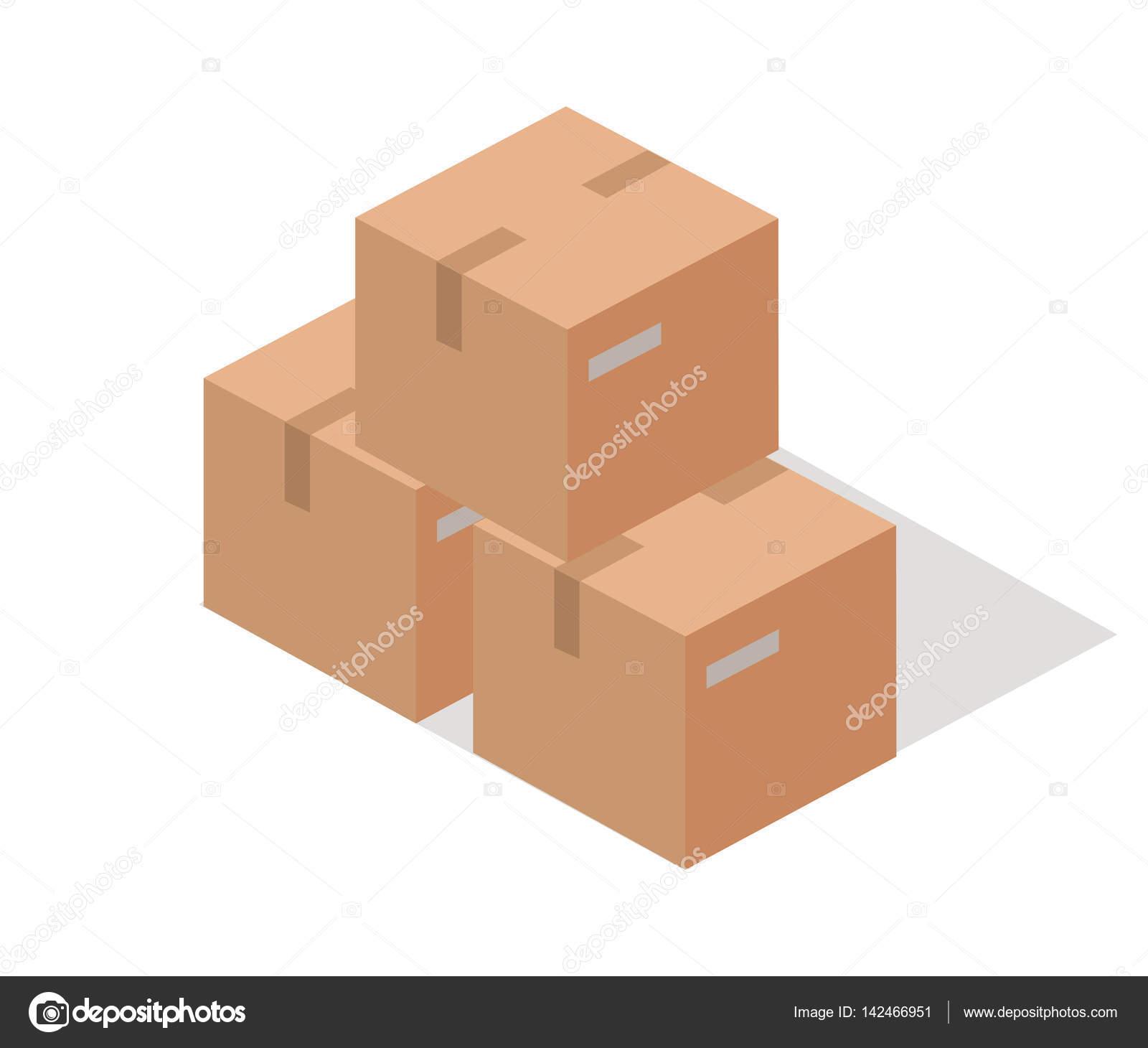Cajas de papel de carga aislados en blanco. Isométrico 3d — Vector ...